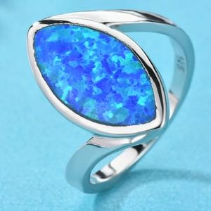 Marquise Cut White/Blue Fire Opal Ring